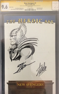 Blank covers with CGC Signature Series sketches are an easy and relatively affordable way into collecting his artwork, like this signed Thor sketch on a blank New Avengers cover. Click for value
