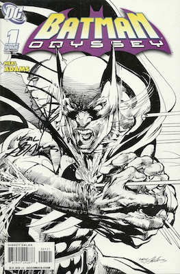 Signed variant sketch cover for Batman Odyssey #1 by Neal Adams. Variant covers with actual hand-drawn sketches are much more valuable.