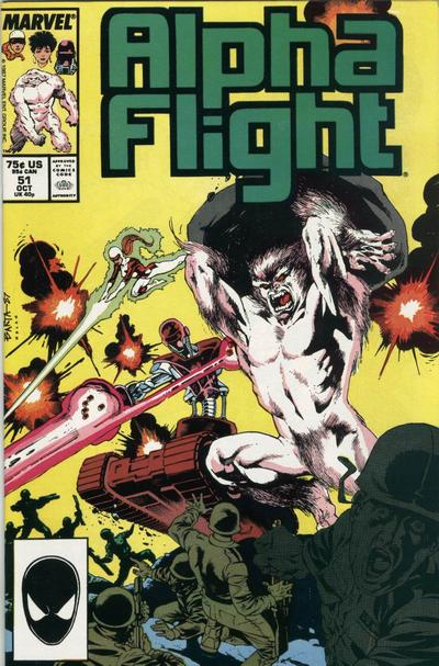 Alpha Flight #51 was Jim's first work for Marvel. Click for values