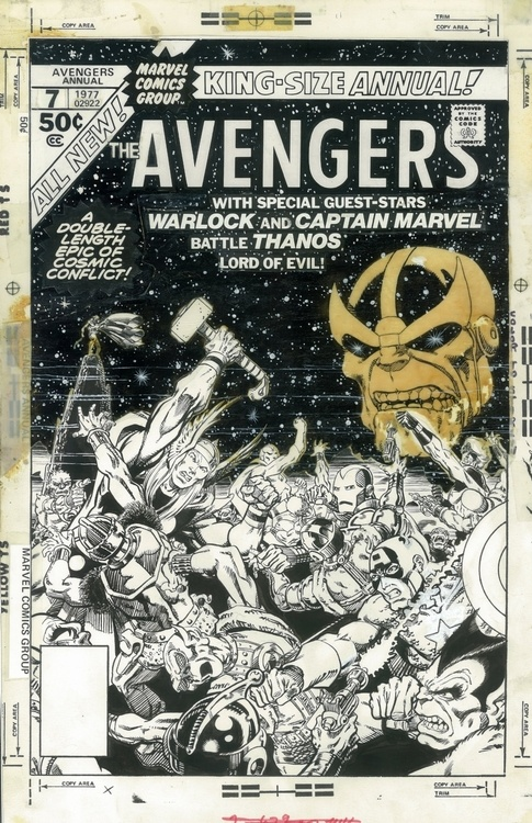 The Thanos head is created on vellum and glued to the cover art for Avengers Annual #7.