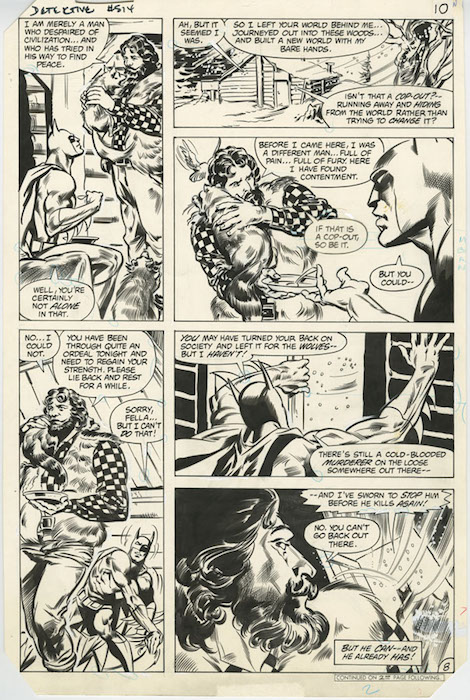 Panel Page – This is an interior comic book page that is divided into individual sections or panels.  Shown is a panel page from Detective Comics #514 by Don Newton.