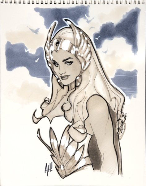 Convention Sketch – A small quick drawing that an artist does at a convention, usually for a fan who has paid for the privilege. Sketch by Adam Hughes