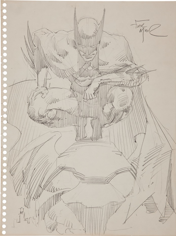 Sold For: $2,031: Batman Commission on notebook paper by Frank Miller. Click for more Miller art prices
