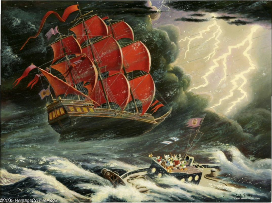Flying Dutchman Original Oil Painting by Carl Barks Sold for: $80,500