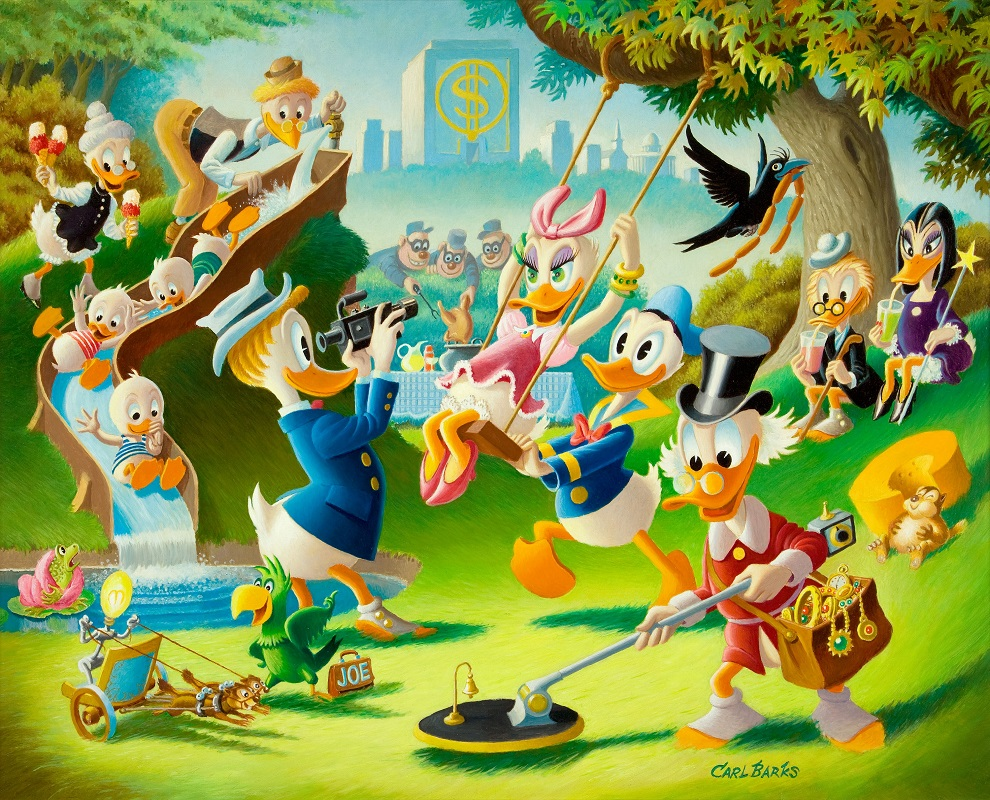 Holiday in Duckburg Original Oil Painting by Carl Barks Sold for: $77,675