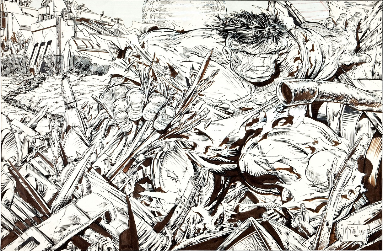 Incredible Hulk Original Poster (1989), art by McFarlane. Sold for: $35,850. Click for original art values