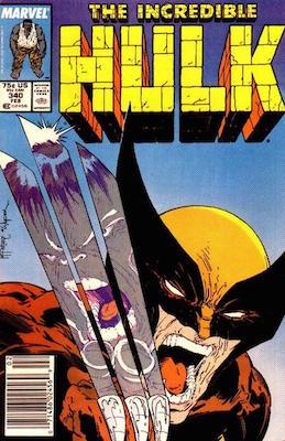 Incredible Hulk #340. Classic McFarlane Wolverine vs Hulk cover. Click for value