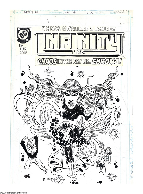 Cover Art for Infinity, Inc. #14, Sold for: $1,201. Click for McFarlane comic art values