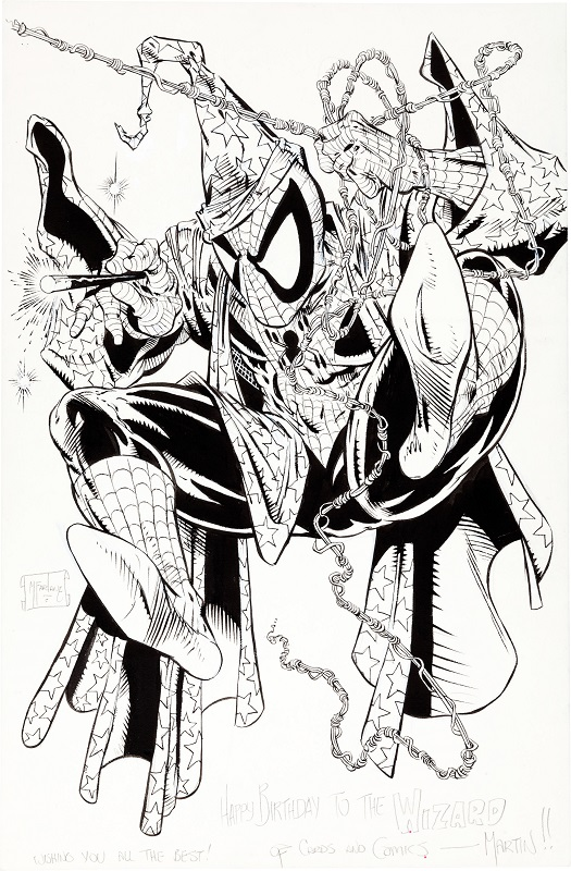 Cover Art for Wizard the Comics Magazine #1, featuring Spider-Man. Sold for: $32,265. Click for McFarlane artwork values