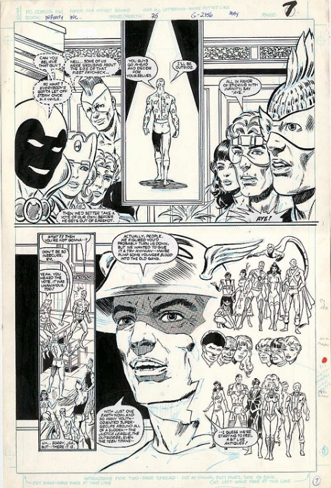 Infinity, Inc. #25, Page 7, by Todd McFarlane. Sold for: $201. Click for comic art values