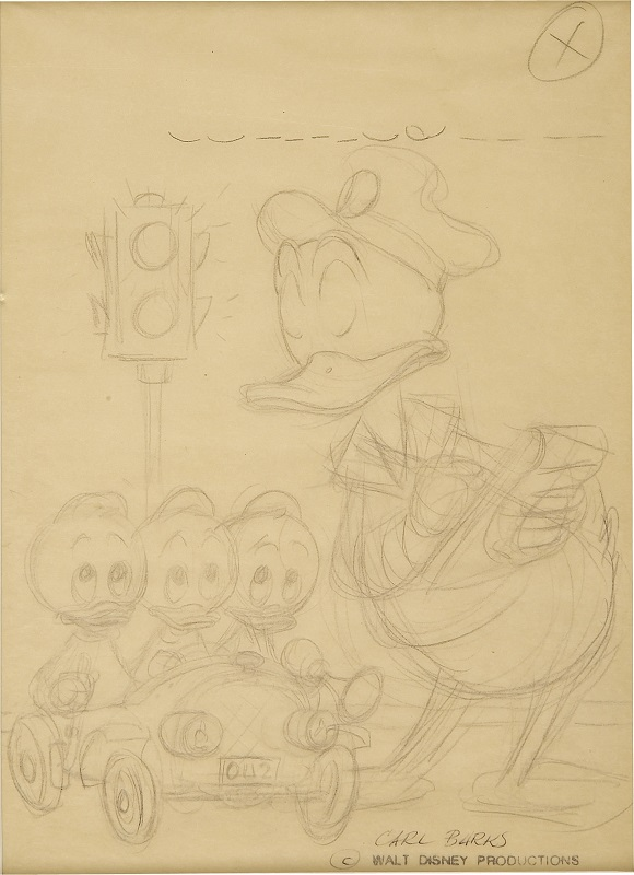 Preliminary Cover Art for Walt Disney's Comics and Stories #242 by Carl Barks Sold for $1,015