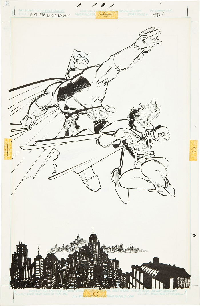Sold For: $448,125: Original Art for Batman: The Dark Knight #3, Splash Page 10 by Frank Miller. Click for more values