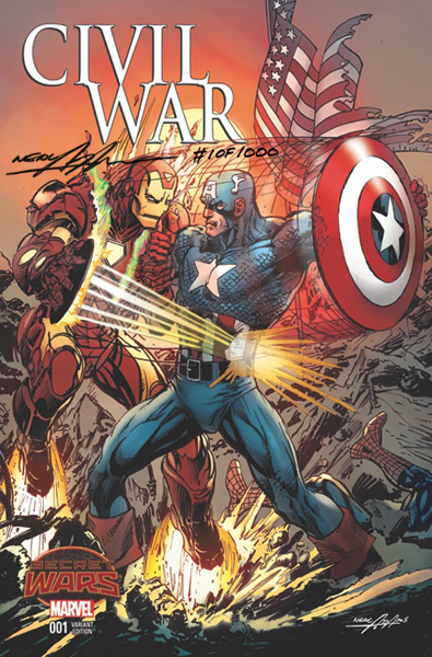Civil War 2015 series #1 Neal Adams variant cover, signed by artist. Click for values