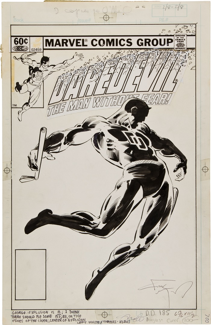 Sold For: $27,485: Original Cover Art for Daredevil #185 Cover by Frank Miller. Click for more art values