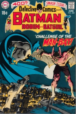 Detective Comics #400 is another landmark Adams book, introducing Man-Bat. Click for value