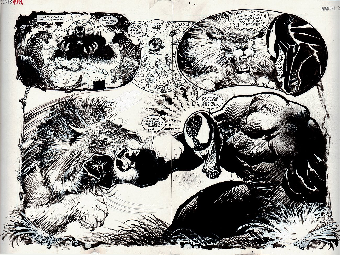Double Page Splash – Comprises of two pages where the character and background fills both pages. An awesome Venom double-page splash by artist Sam Keith.