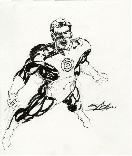Original portrait of Green Lantern by Neal Adams. Click to see value of original Adams art pieces