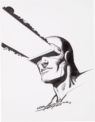 Original portrait of Cyclops from the X-Men by Neal Adams. Click to see value of original Adams art pieces