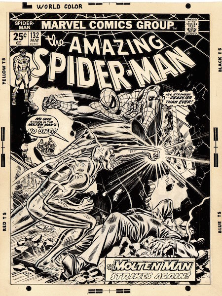 Overlay – A piece of clear acetate that has been taped to the top of an original piece of artwork to allow a hinging motion. This is the cover of Amazing Spider-Man #132 with overlay. Click for values