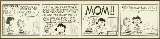 Strip – Short for Comic Strip.  Dailies are often called strips. This is an original Peanuts strip art by Charles M. Schulz. Click for values