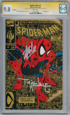 Spider-Man #1 from 1990 holds the world record for comic books sales, with over 2m copies sold. This is a signed CGC certified copy of the gold edition. Click for values
