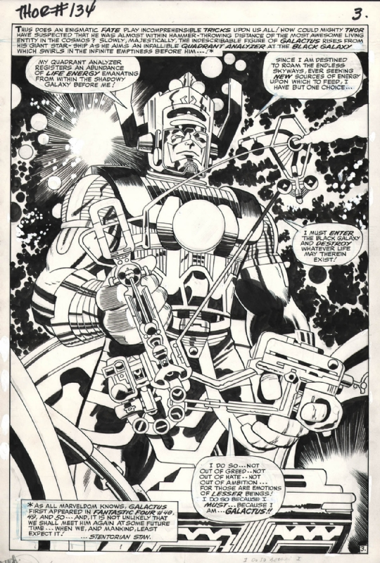 Splash Page – An art page void of any panels. Where the character and background fill the entire page. An awesome Galactus splash page from Thor #134.