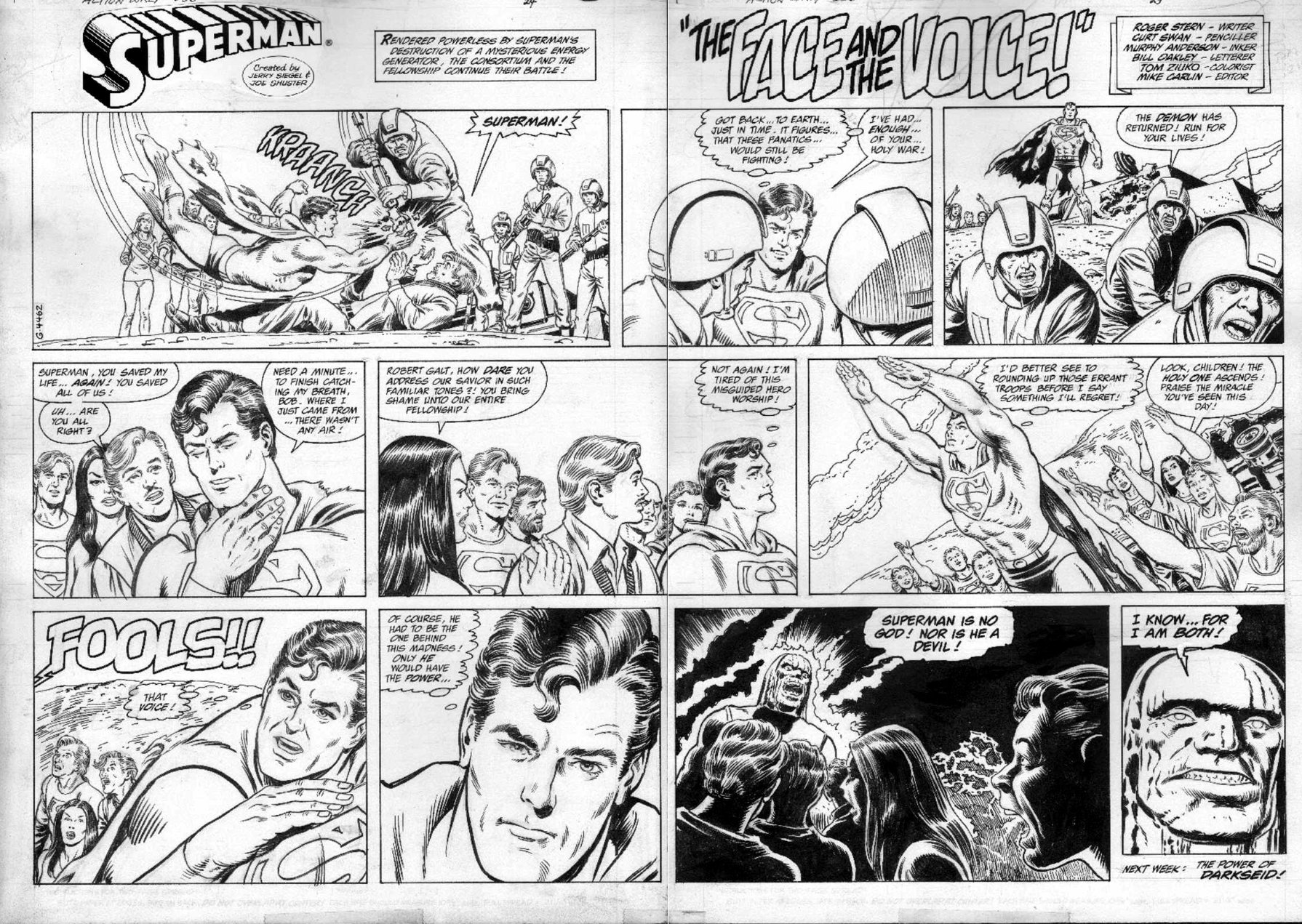Sunday – Comic art that was published on, you guessed it, Sunday.  If you were to take three daily strips and put them together you would have a single Sunday.
