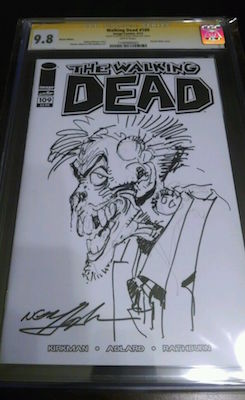 This awesome Walking Dead #109 cover features a hand-drawn sketch by Neal Adams. Click for value
