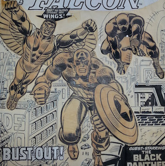 Vellum is easy to spot because the glue that was used has now turned yellow. The figures from the Captain America #171 cover art are drawn on vellum and glued to the cover.