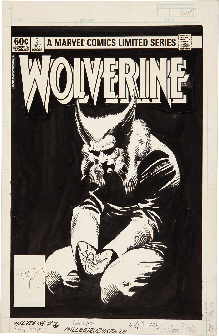 Sold For: $47,800: Original Cover Art for Wolverine #3 by Frank Miller. Click for more Miller values