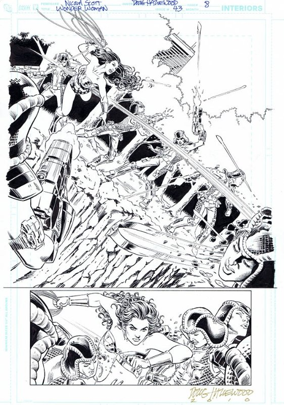 Three Quarter Splash – A page where 1/3 is a single panel and 2/3 is divided into multiple panels. This is a Wonder Woman three quarter splash page by Nicola Scott. Click for values