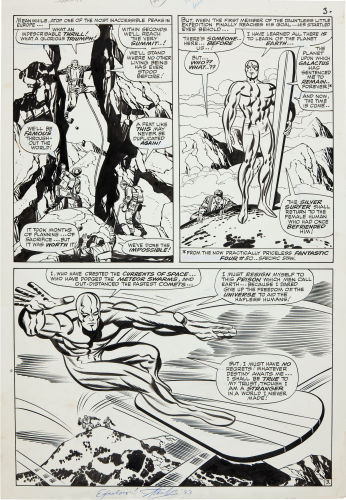 Half Splash – A page where half is a single panel and the other half is divided into multiple panels. This is a great Silver Surfer half splash page.