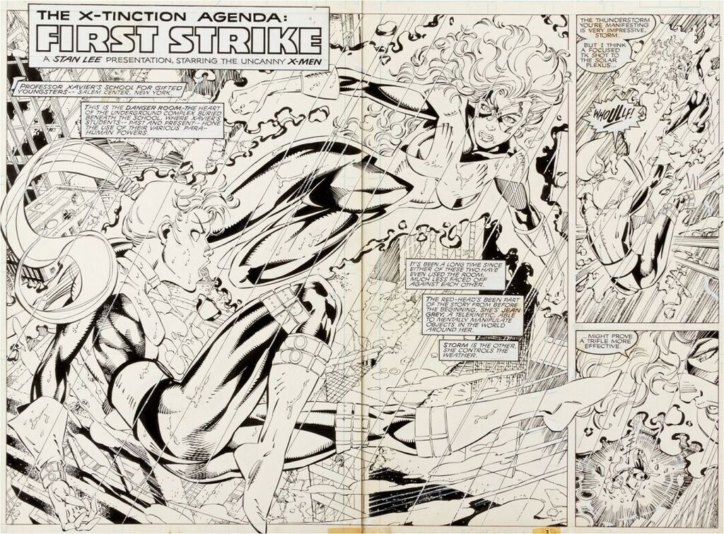 Uncanny X-Men #270 splash pages 2 – 3  Sold for: $11,352