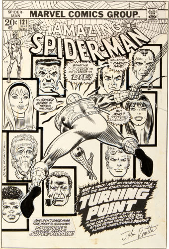 Original comic art by John Romita for the frnt cover of Amazing Spider-Man #121, death of Gwen Stacy issue