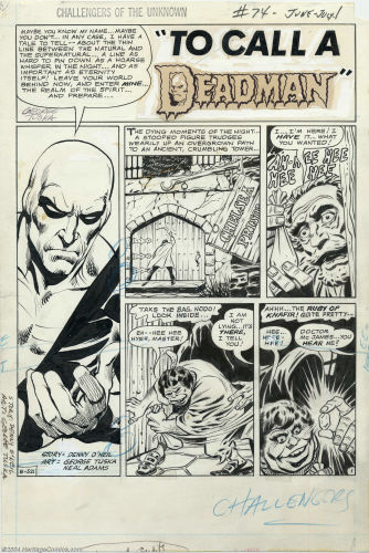 Challengers of the Unknown #74 splash page by Neal Adams. Click to see value of Adams artwork