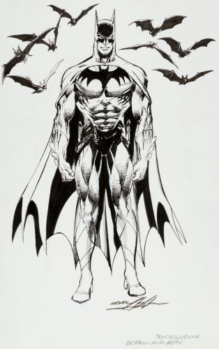 Original portrait of Batman by Neal Adams. Click to see value of original art by Adams