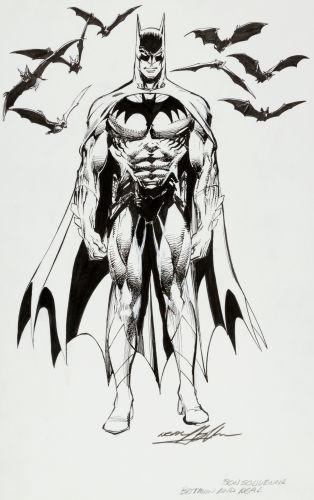Original portrait of Batman by Neal Adams. Click to see value of original art by Adams
