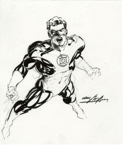 Original portrait of Green Lantern by Neal Adams. Click to see value of original Adams art pieces