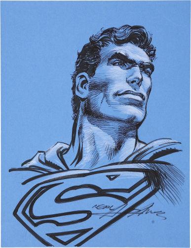Original portrait of Superman by Neal Adams. Click to see value of original artwork by Adams