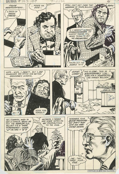 Talking Head Page – Original art pages that comprise of unknown characters standing around and talking. Above is a Don Newton talking head page from Batman #363.