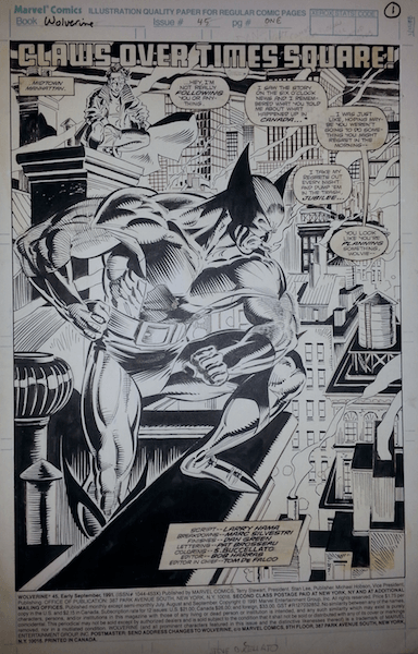 This is the title splash page from Wolverine #45.